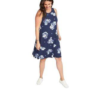 Old Navy Women's Blue Floral Swing Tank Dress S
